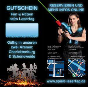 Lasertag Gutschein Vorderseite und Rückseite