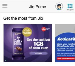 Jio 1 GB Free Data - Cadbury Dairy Milk