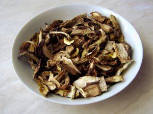 immagine di funghi porcini secchi in un piatto di colore bianco