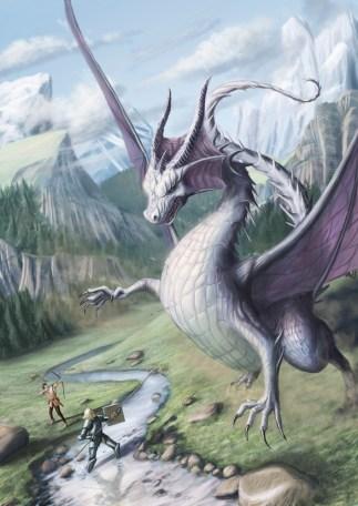 A daring knight battles a dragon. Artwork by TomMcGrath