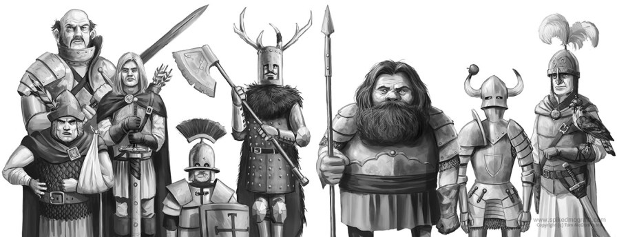 assorted knights warriors and heroes