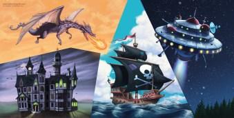a dragon, a haunted house, a UFO , a pirate ship