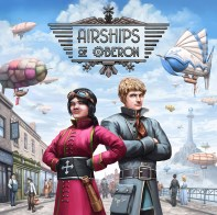 "The box cover art for the boardgame ""Airships of Oberon"""