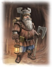 A tolkien style dwarf with an axe and a lantern