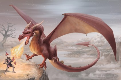A brave knight faces off against a fire breathing dragon