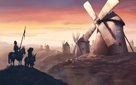 Don Quixote and Sancho Panza observe windmills in the dawn light
