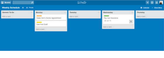 Trello Updated Weekly Schedule