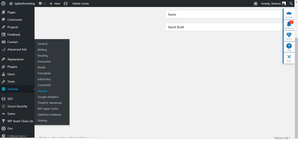 WordPress Settings | SpikedParenting Interact Tutorial