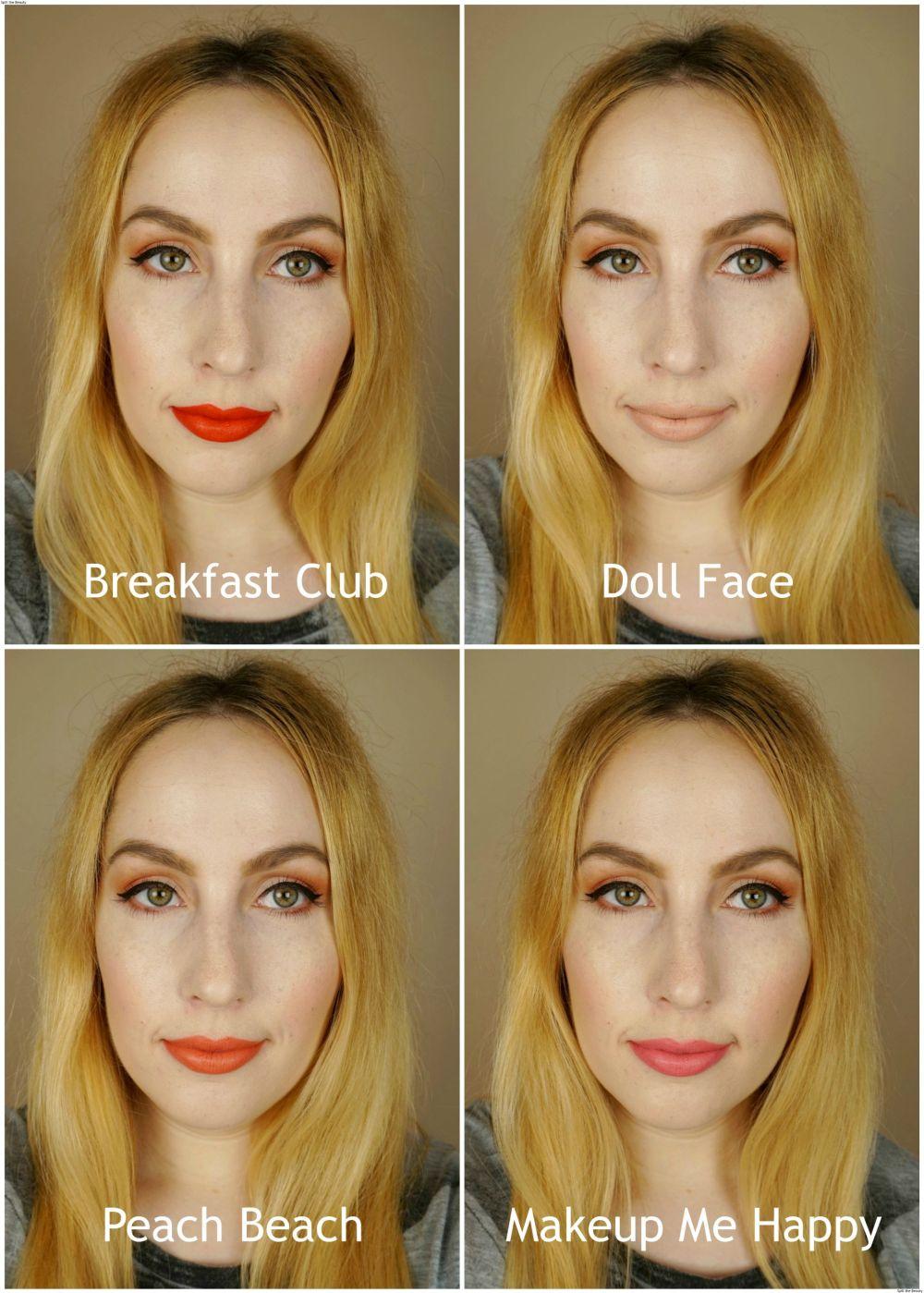 too faced peach kiss moisture matte long wear lipstick swatches review breakfast club doll face peach beach makeup me happy