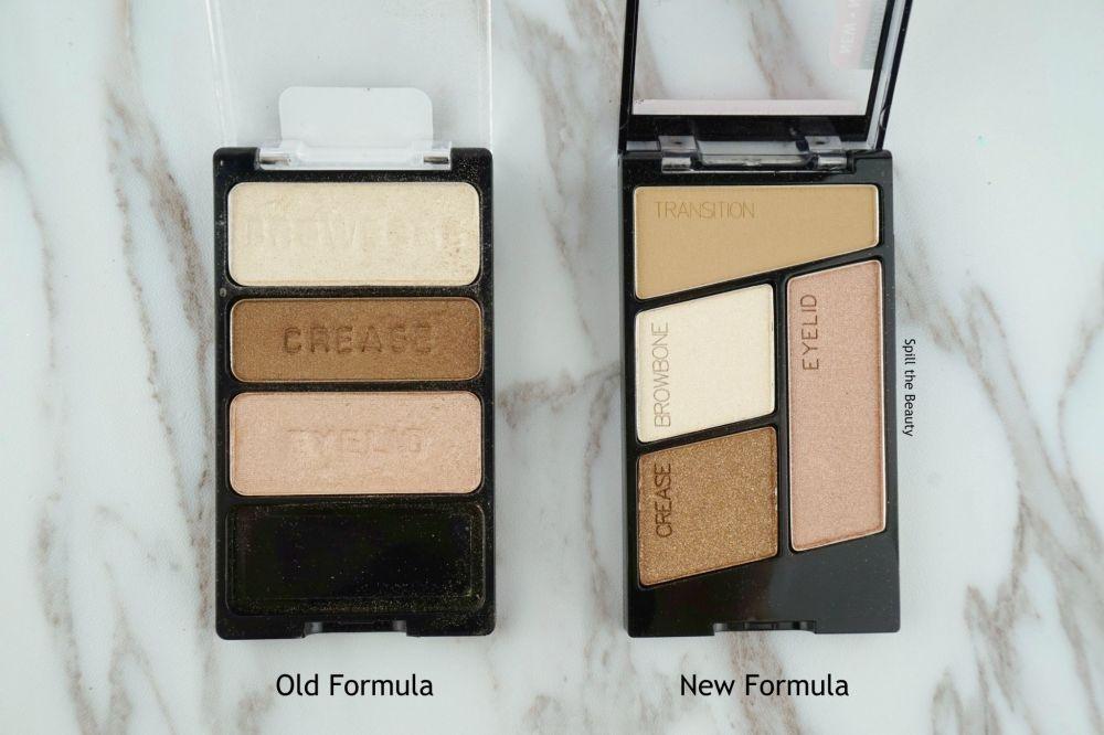 wet n wild walking on eggshells eyeshadow trio old formula vs new formula swaches comparison