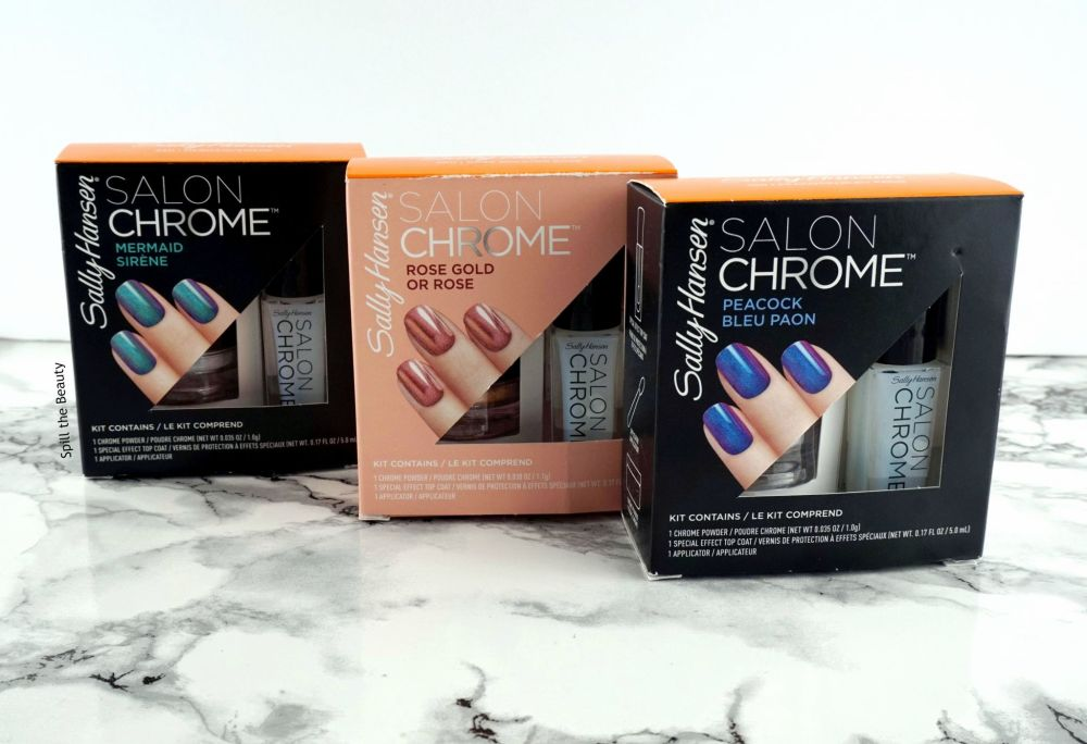 Sally Hansen Chrome Kit review swatches peacock rose gold mermaid