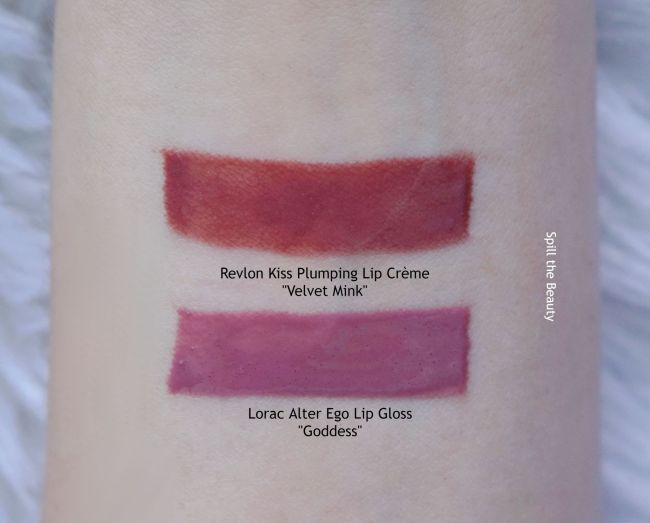 lip swatch revlon kiss plumping lip creme lip gloss velvet mink comparison dupe lorac alter ego lip gloss goddess
