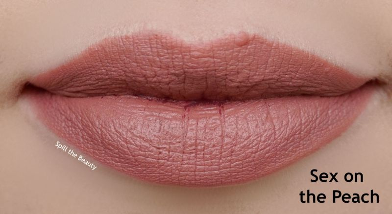 too faced peaches and cream moisture matte lipstick review swatches sex on the peach