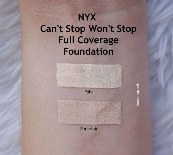 nyx cant stop wont stop full coverage foundation review swatches pale porcelain before and after