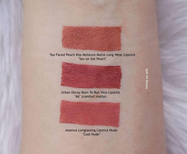 urban decay 66 vice lipstick comfort matte lip swatch comparison dupe