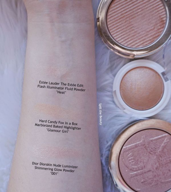 hard candy glamour girl fox in a boc highlight review swatches comparison dupe