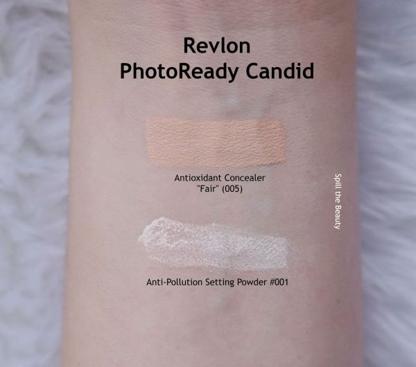 revlon candid photoready foundation concealer powder 005 130 ivory review swatches before and after