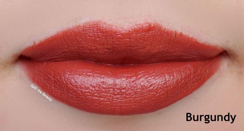 becca burgundy lipstick swatches comparison dupe