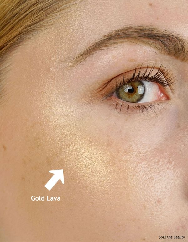 becca gold lava highlighter review swatches