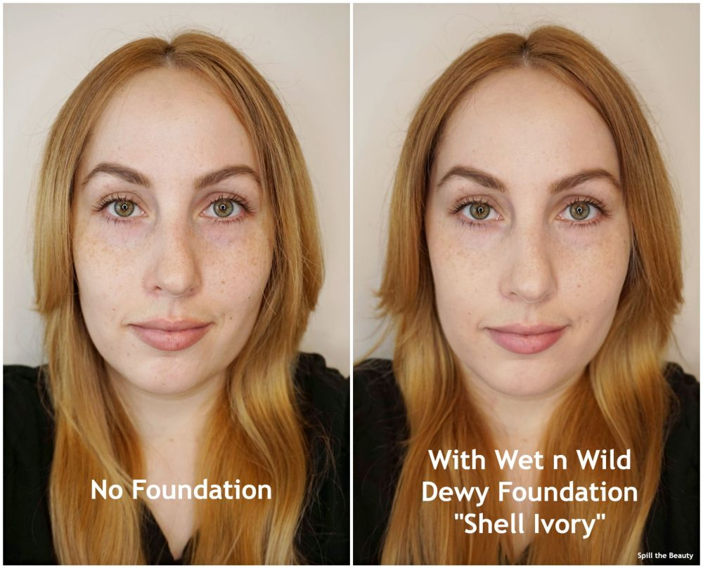 wet n wild dewy foundation review shell ivory before and after
