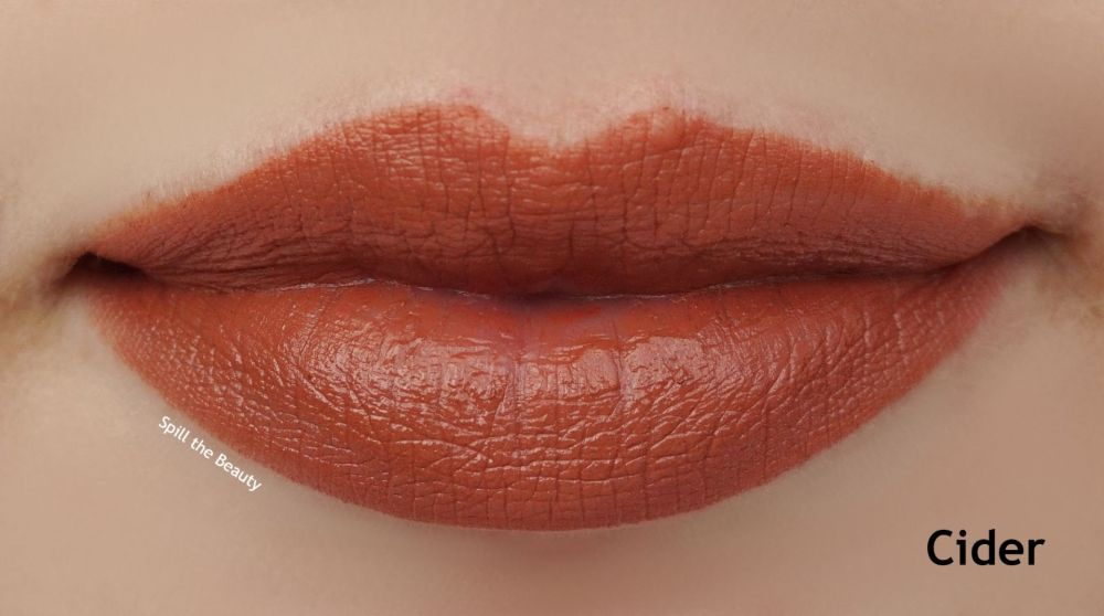 elf cider srsly satin lipststick swatch