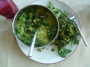 Beet and Lauki Squash soup, Kitchari with Cilantro, Greens - all from Bhagavat Life
