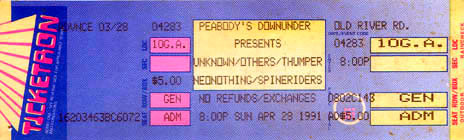 Peoabody's Down Under show ticket