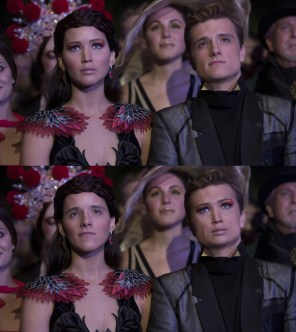 Face swap of Katniss Everdeen (Jennifer Lawrence) and Peeta Mellark (Josh Hutcherson) from The Hunger Games: Catching Fire.