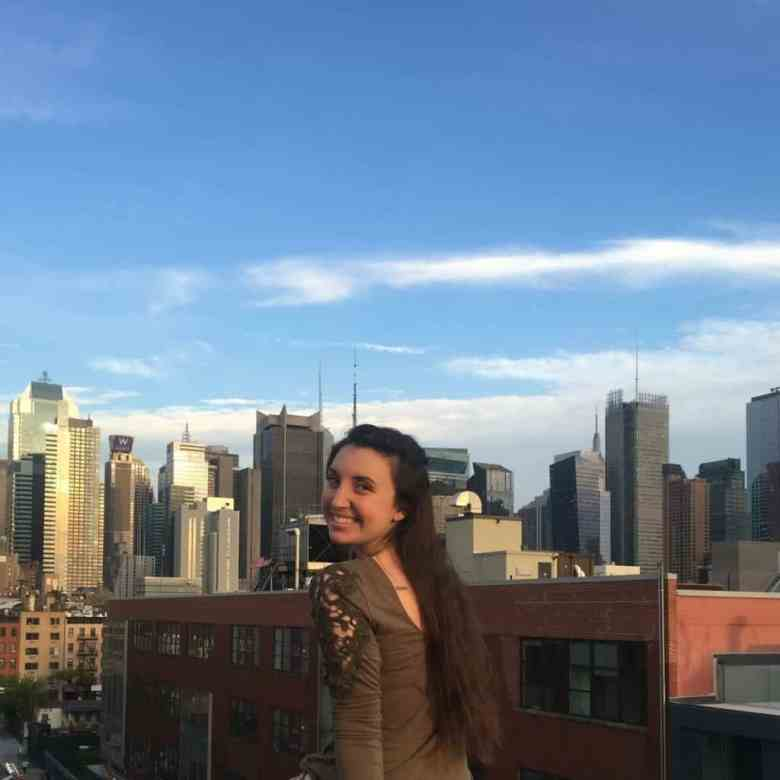 girl on rooftop in new york city