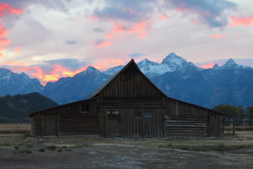 sunset at grand teton national park