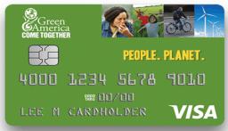green America ethical bank via credit card