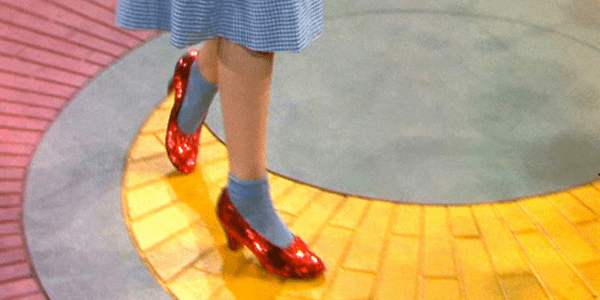 Ruby red slippers, detail from The Wizard of Oz