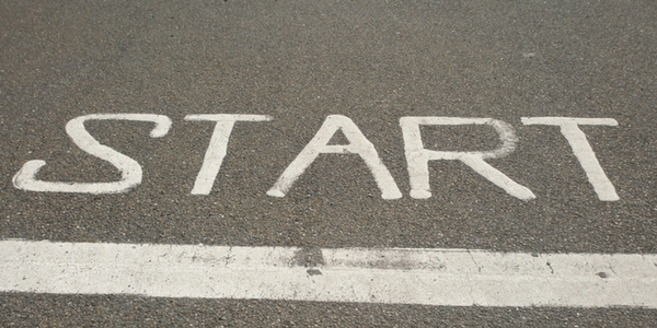 Start written on the road in white paint, photo by Anne