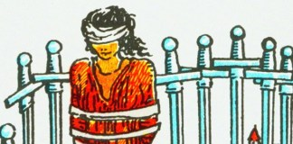 Detail from 8 of Swords in the Rider-Waite-Smith Tarot