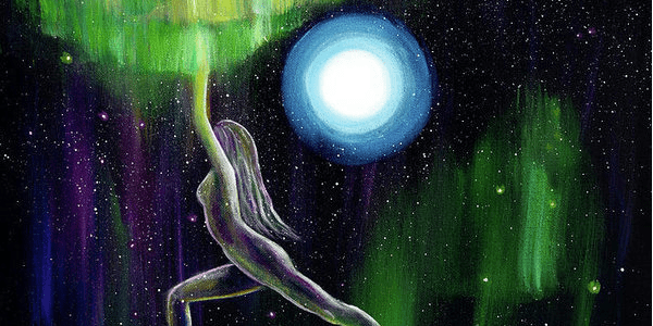 Warrior Yoga Goddess in Aurora Borealis by Laura Iverson