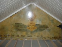 Mural above ceiling at Ness Battery, Orkney