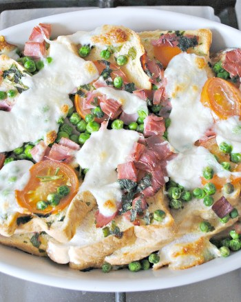 Ham & Mozzarella Bread Pudding