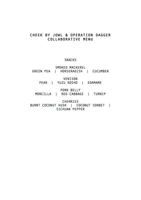 Operation Dagger & Cheek by Jowl Collaborative Menu