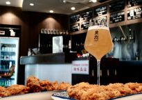 Orh Gao Taproom beer and chicken wings
