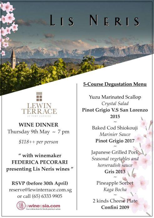 Lis Neris wine dinner at Lewin Terrace