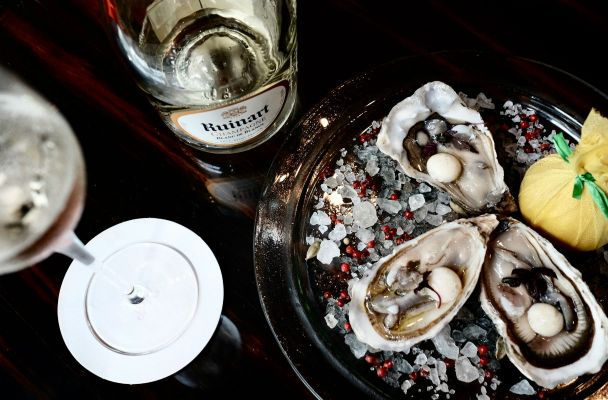 Ruinart Blanc de Blancs with oysters