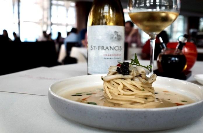 Spirited Eats August 2020 - zafferano razor clam spaghetti st francis chardonnay
