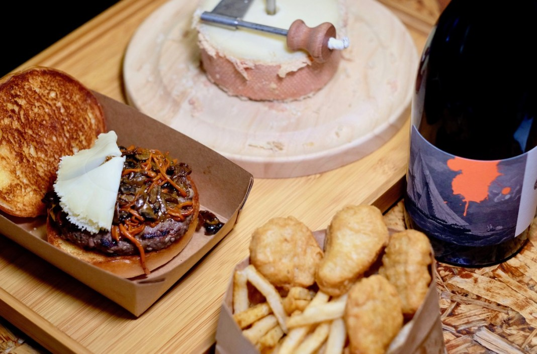 Wildfire Burgers Forest Mushrooms Burge and wine