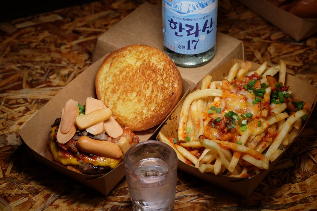 Wildfire Korean Army Stew Burger Kimchi Cheese Fries and soju