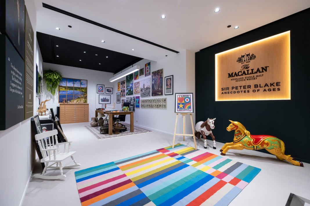 Sir Peter Blake x The Macallan Anecdotes of Ages Collection Gallery studio