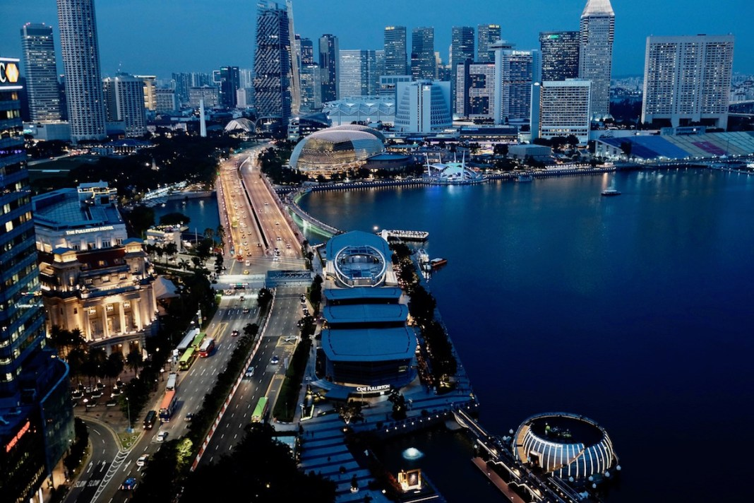 Singapore skyline of Marina Bay taken from VUE
