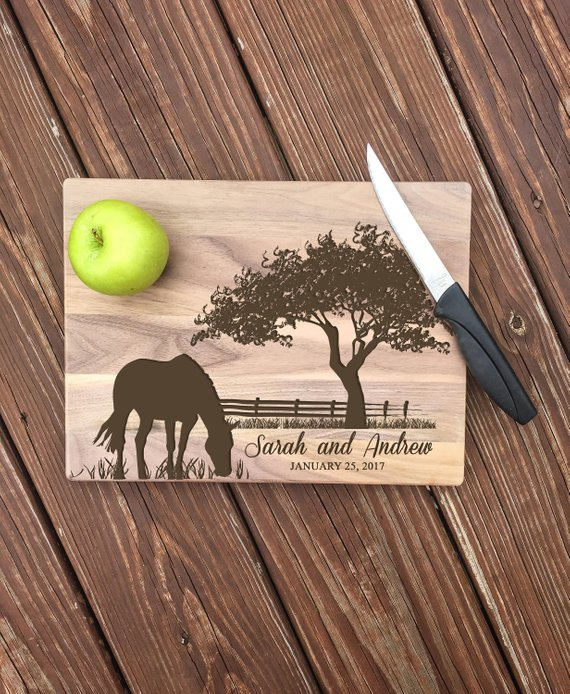 Cutting Boards are all the rage, and this customized board is a perfect wedding gift!