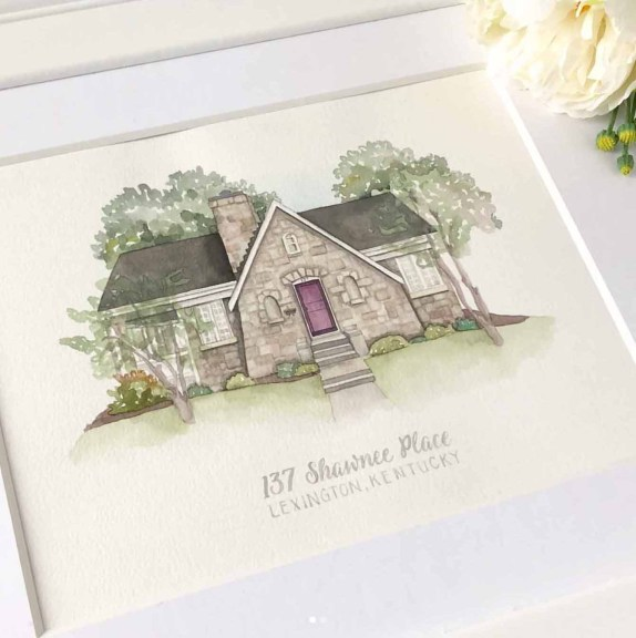 Love Love Love watercolor artist The Prints and The Pea - beautiful wedding gift of their first home!