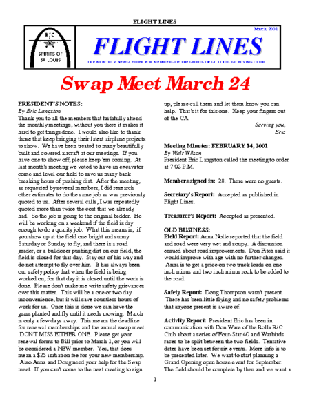 Flight Lines (March-2001)