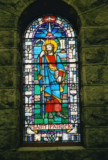 stained glass window of St. Patrick
